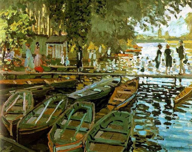 32Claude Monet 1869 Bathing at La Grenouillere oil on canvas