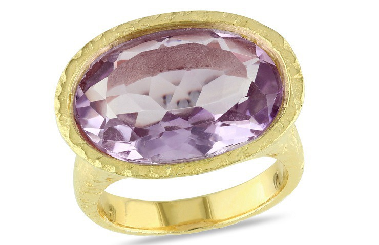 5010 Carat Amethyst 18K Yellow Gold Plated Sterling Silver Ring