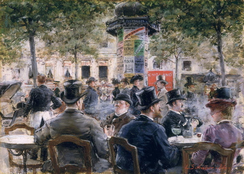 22Cafe Scene in Paris 1884 Louis Anet Sabatier. French