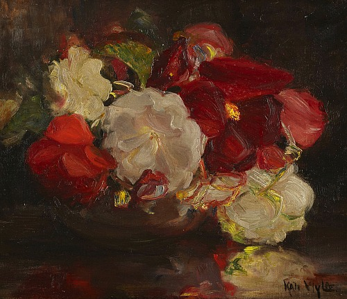 32Kate Wylie Still Life of Pansieslate 19th-early 20th centiry